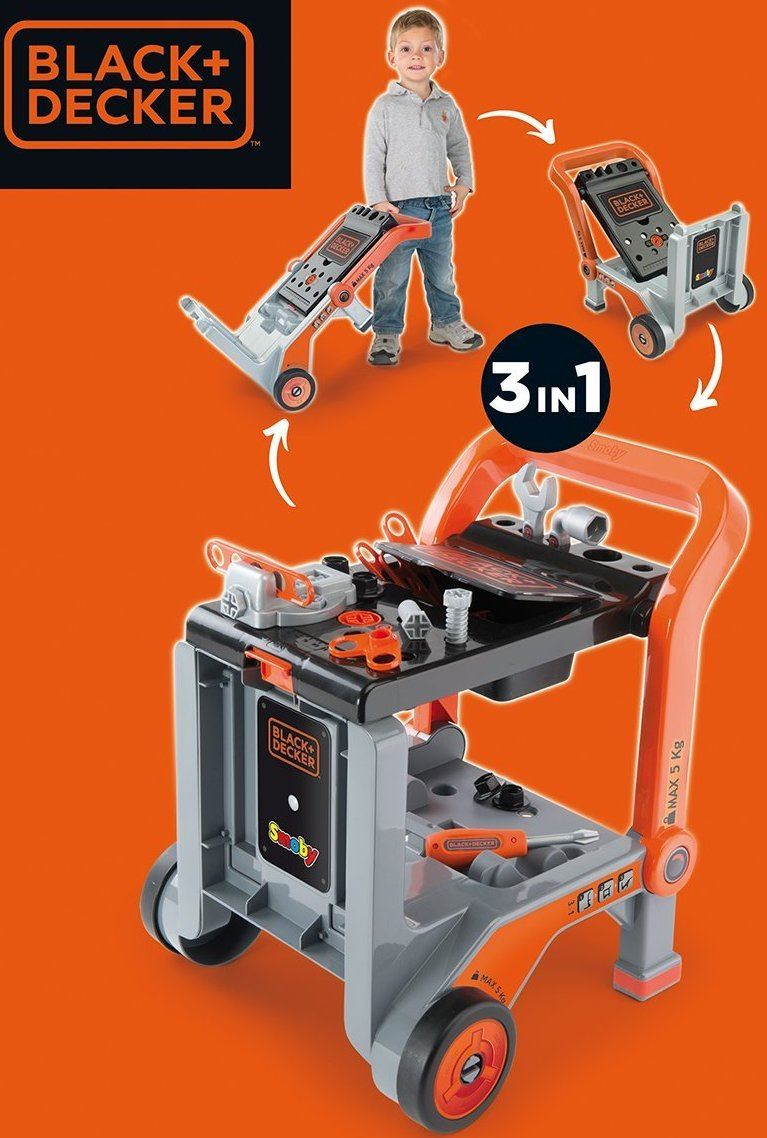 Black Amp Decker Kids Devil Workmate 3 In 1 Childrens Workbench Toy Tool Trolley Ebay