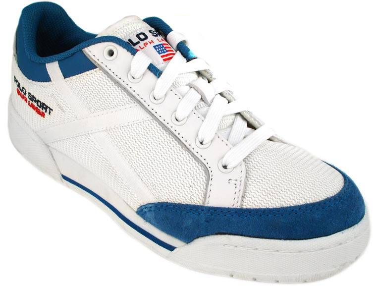polo sport mens shoes classic white blue sneakers ebay