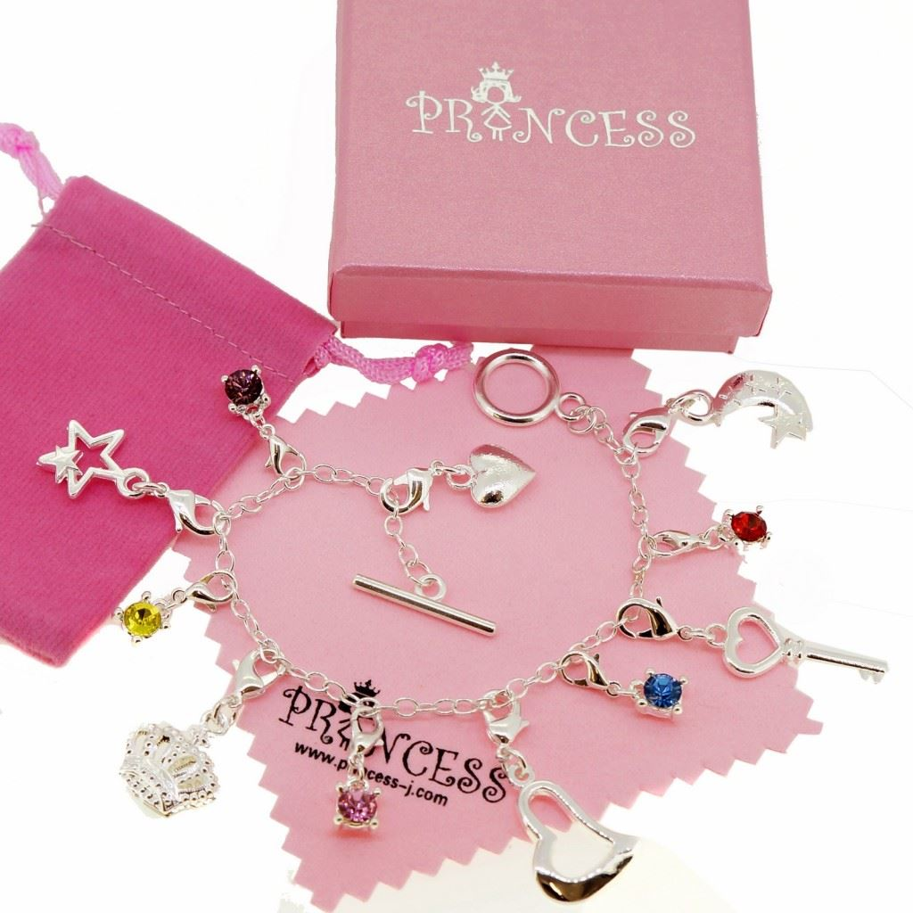 Silver Plated 11 Crystal Charm Bracelet for Kid Teen Girls ...