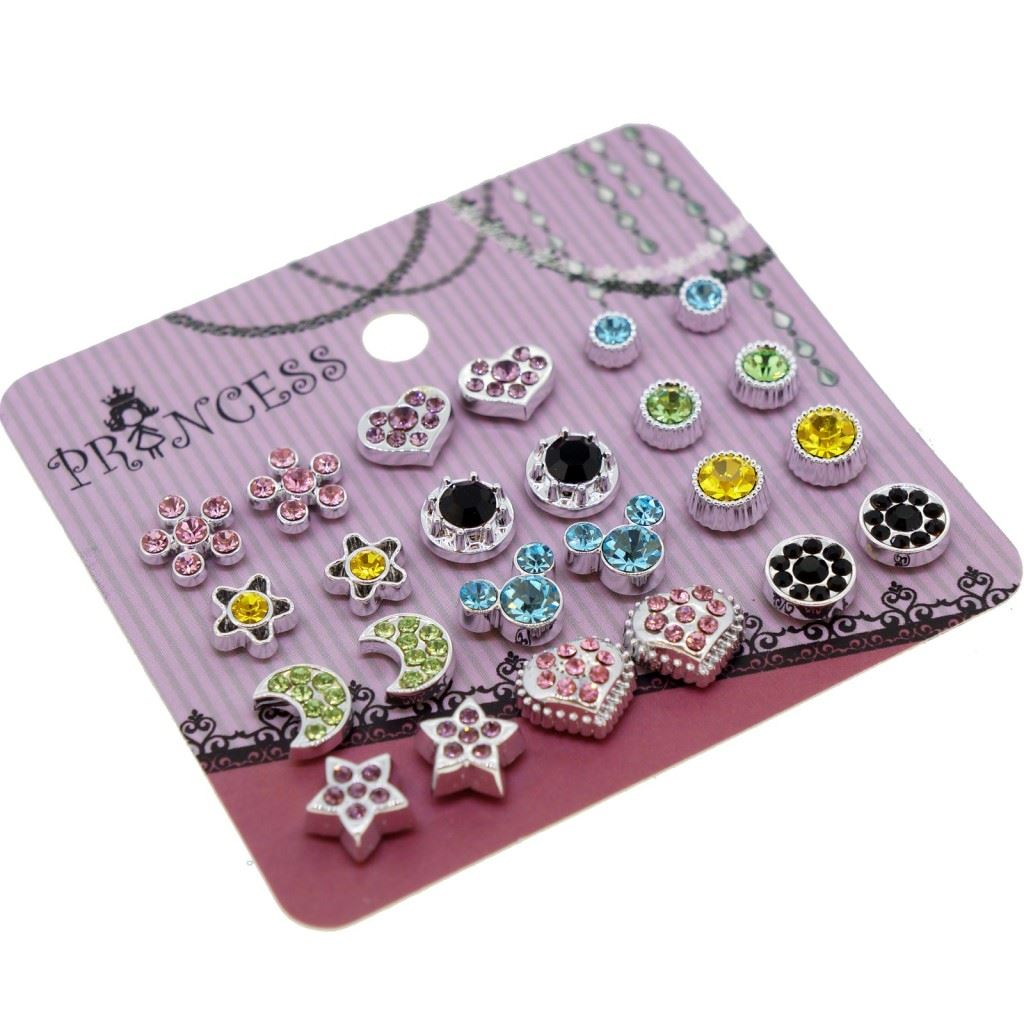 Color Crystal Magnetic Clip On Stud Earrings Fashion ...