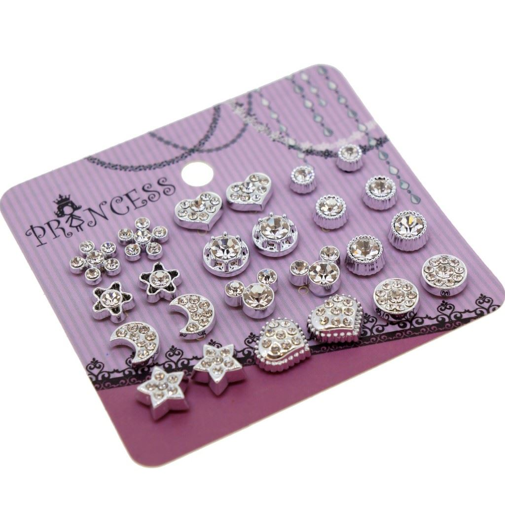 silver stud en ears blister of jewelry color gold earrings wholesale set metal studs earings ear fashion