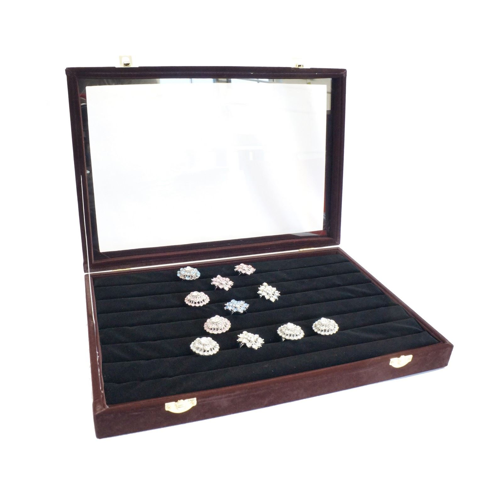 #624244 Large Velvet Glass Top Jewellery Rings Cufflinks Display  with 1600x1600 px of Recommended Jewellery Glass Display Cabinets Uk 16001600 save image @ avoidforclosure.info