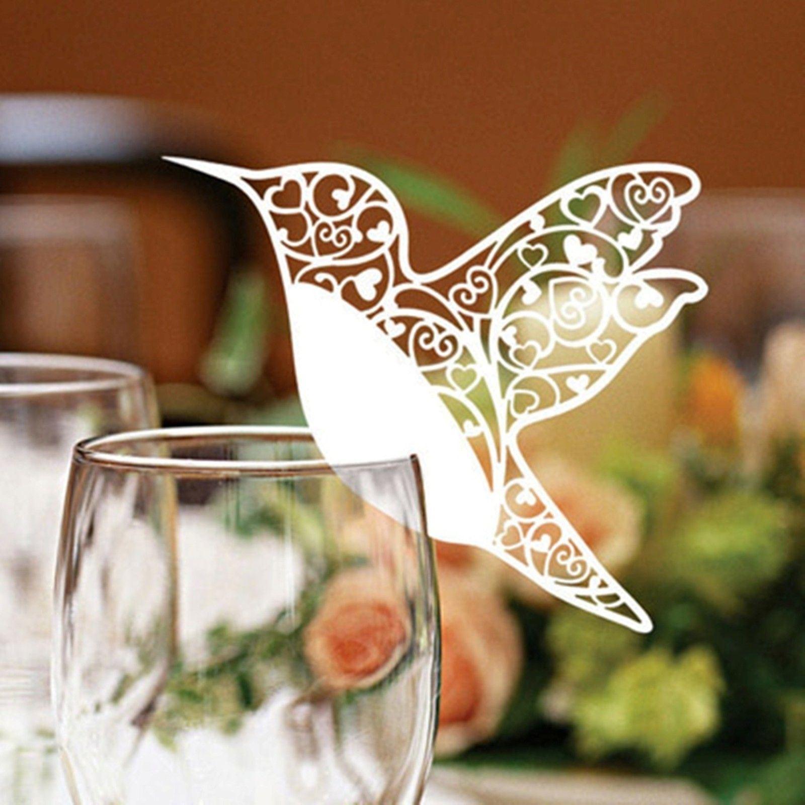 Marque place nom mariage colibri pour verre vin d coupe for Place a table par personne