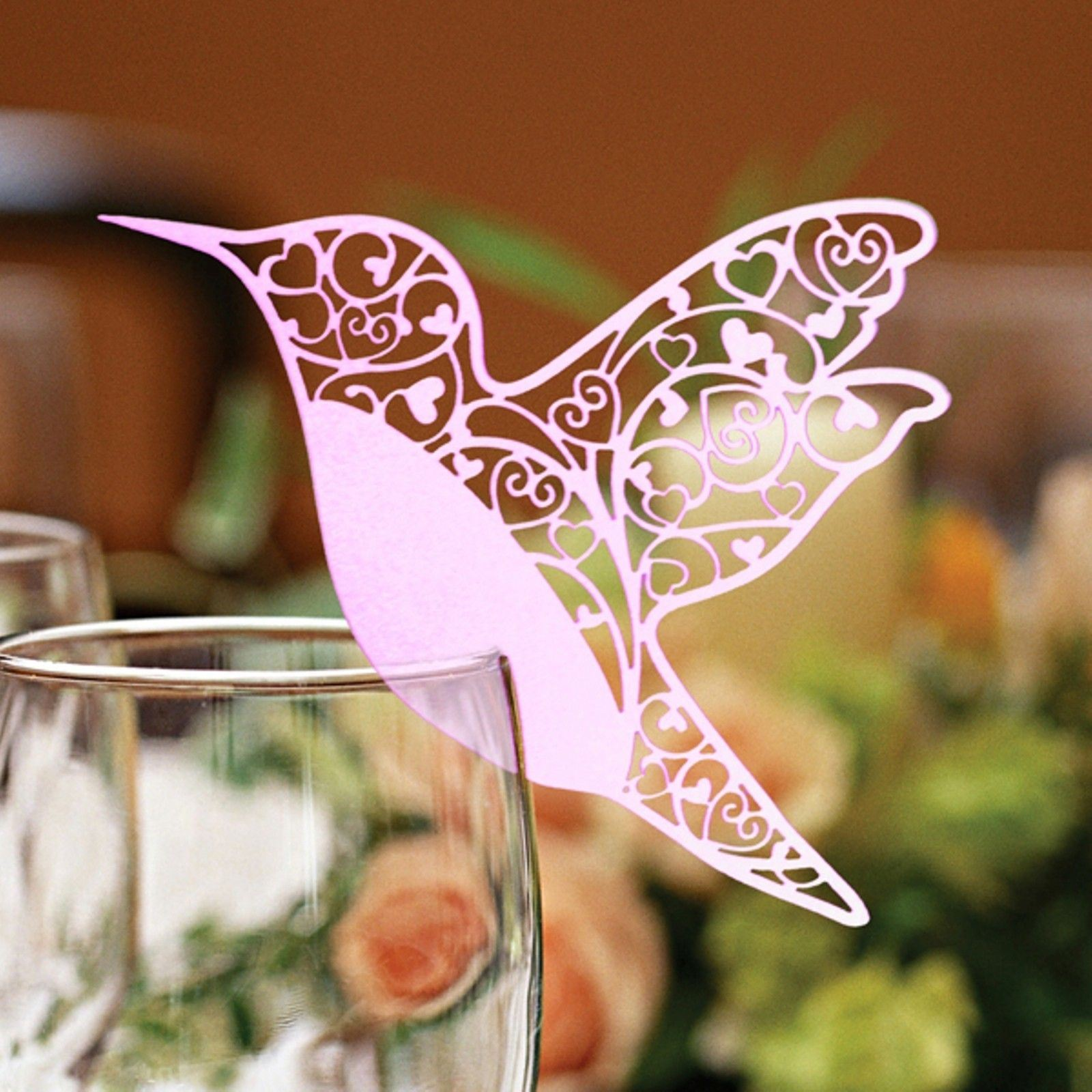 marque place nom mariage colibri pour verre vin d coupe laser carte nacr e ebay. Black Bedroom Furniture Sets. Home Design Ideas