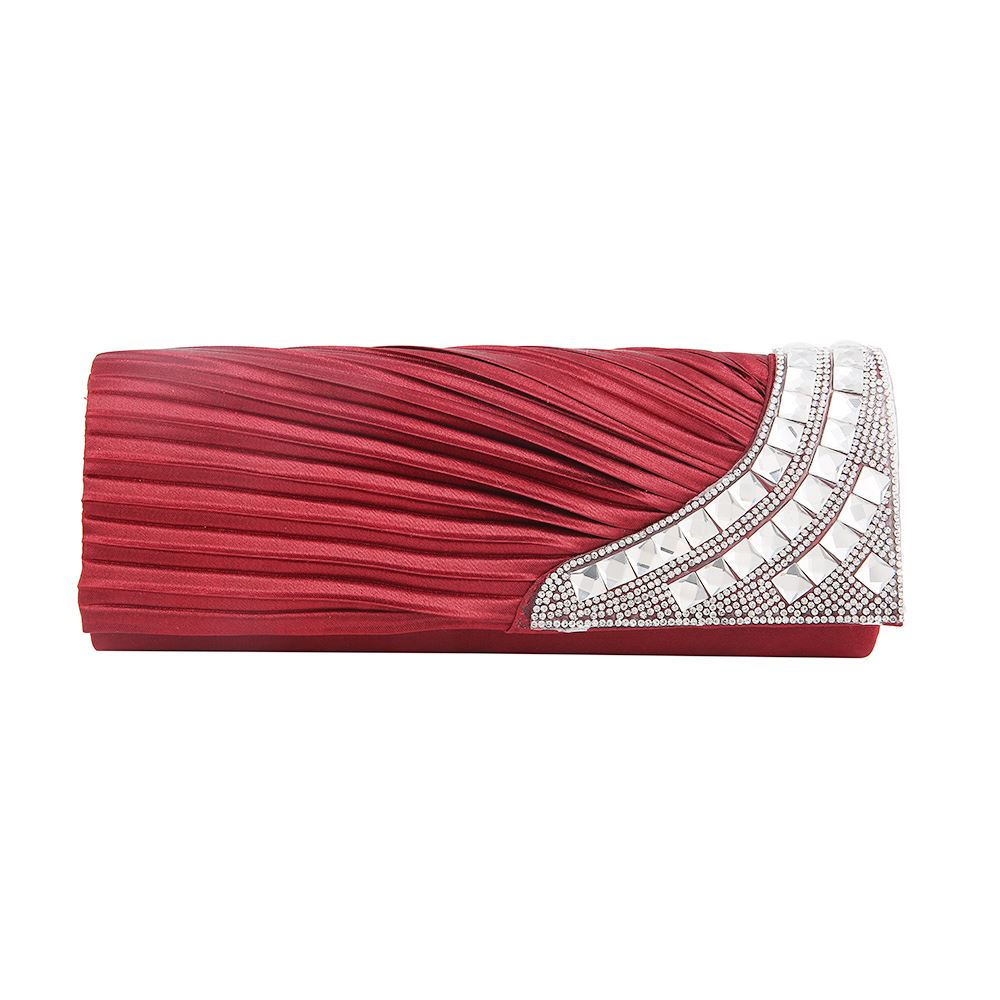 New Womens Satin Pleated Clutch Bag Diamante Wedding Prom Evening Handbag Purse | EBay