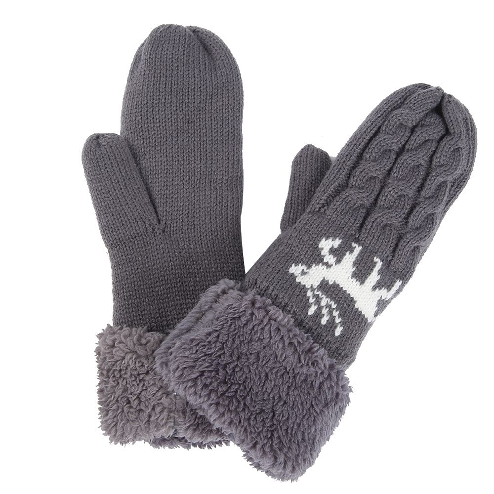 Womens Ladies Winter Wool Blend Thick Mittens Knitted Warm ...