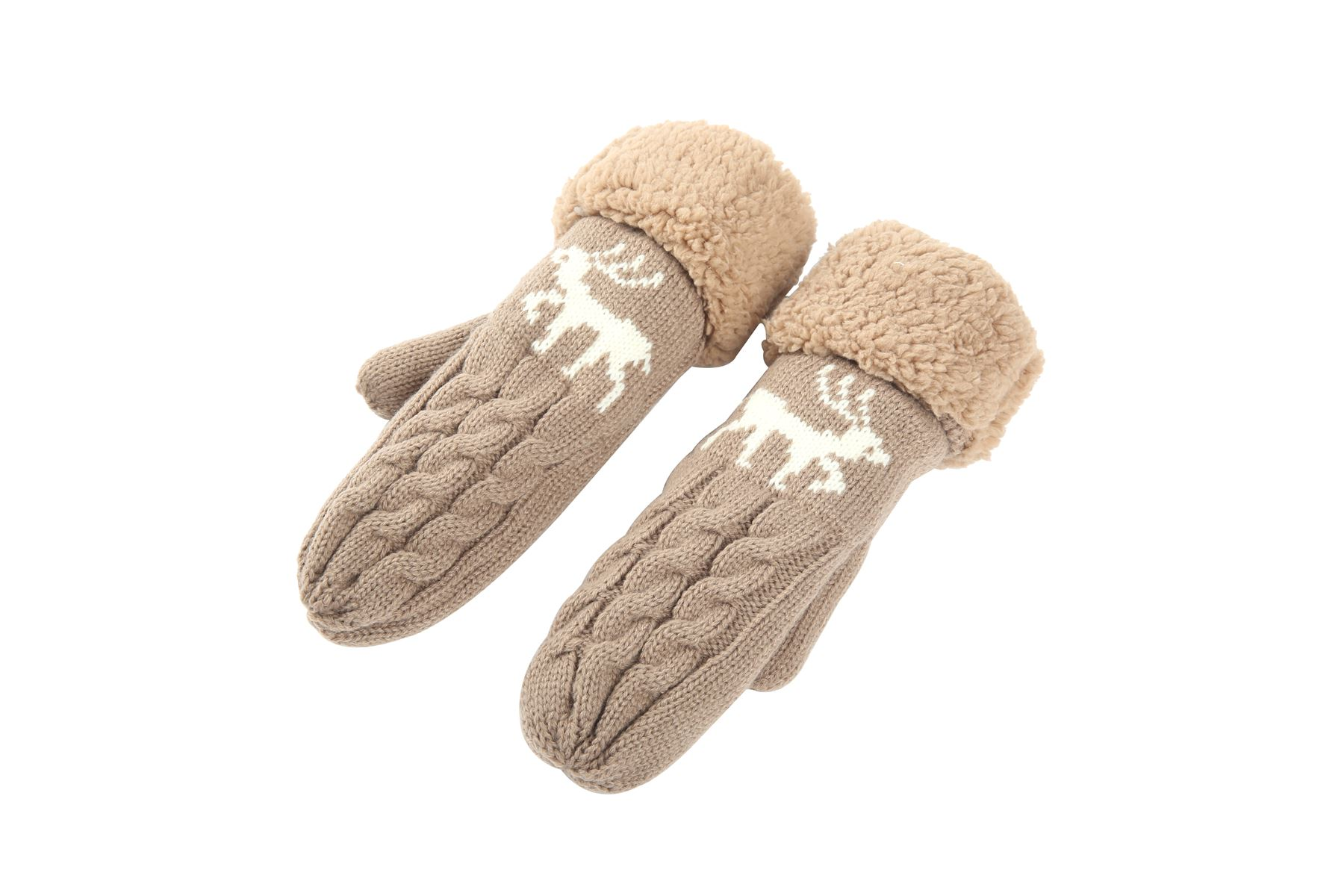 Womens Ladies Winter Wool Blend Thick Mittens Knitted Warm