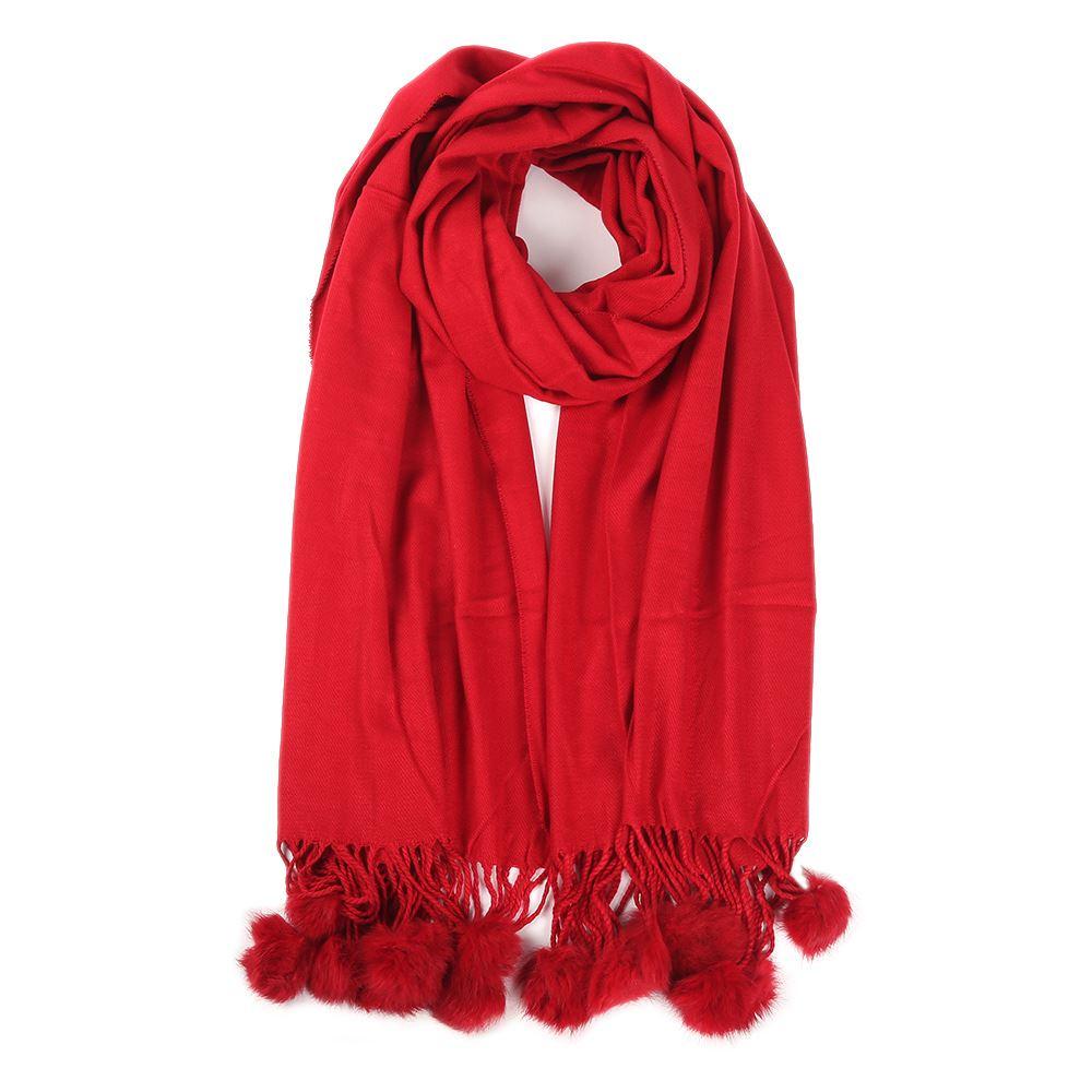 womens winter real rabbit fur pompom plain scarf