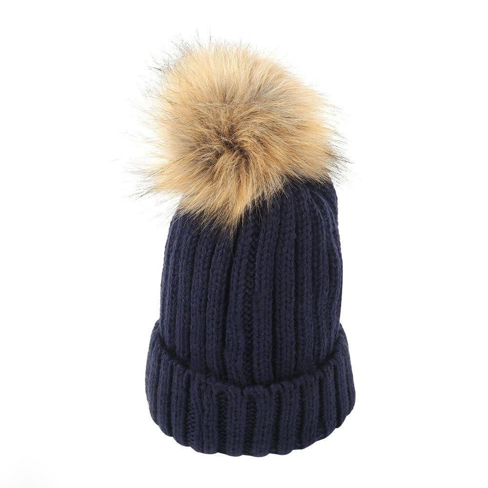 womens winter faux fur mink detachable pom pom knitted