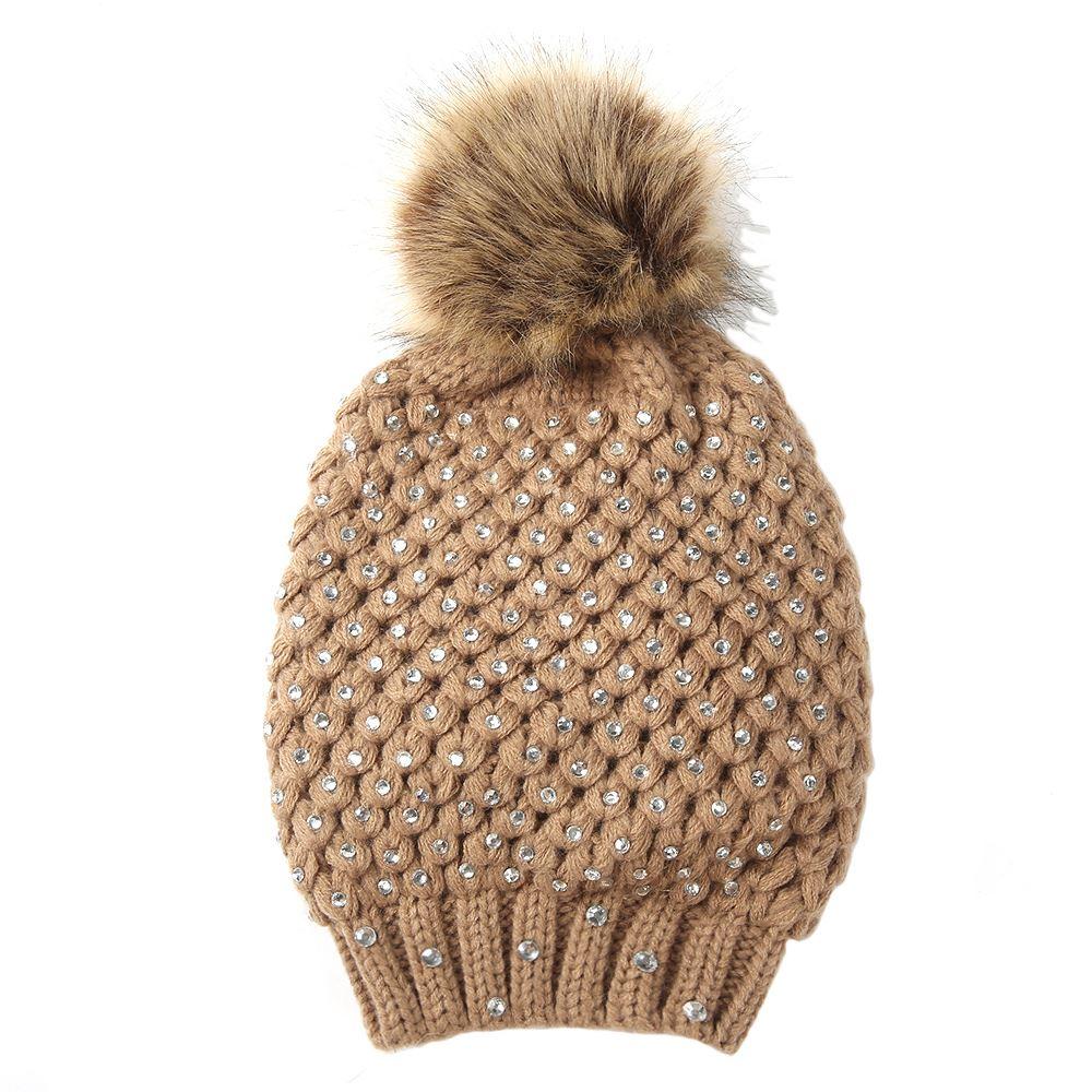 womens winter faux fur pom pom diamante beaded knitted hat