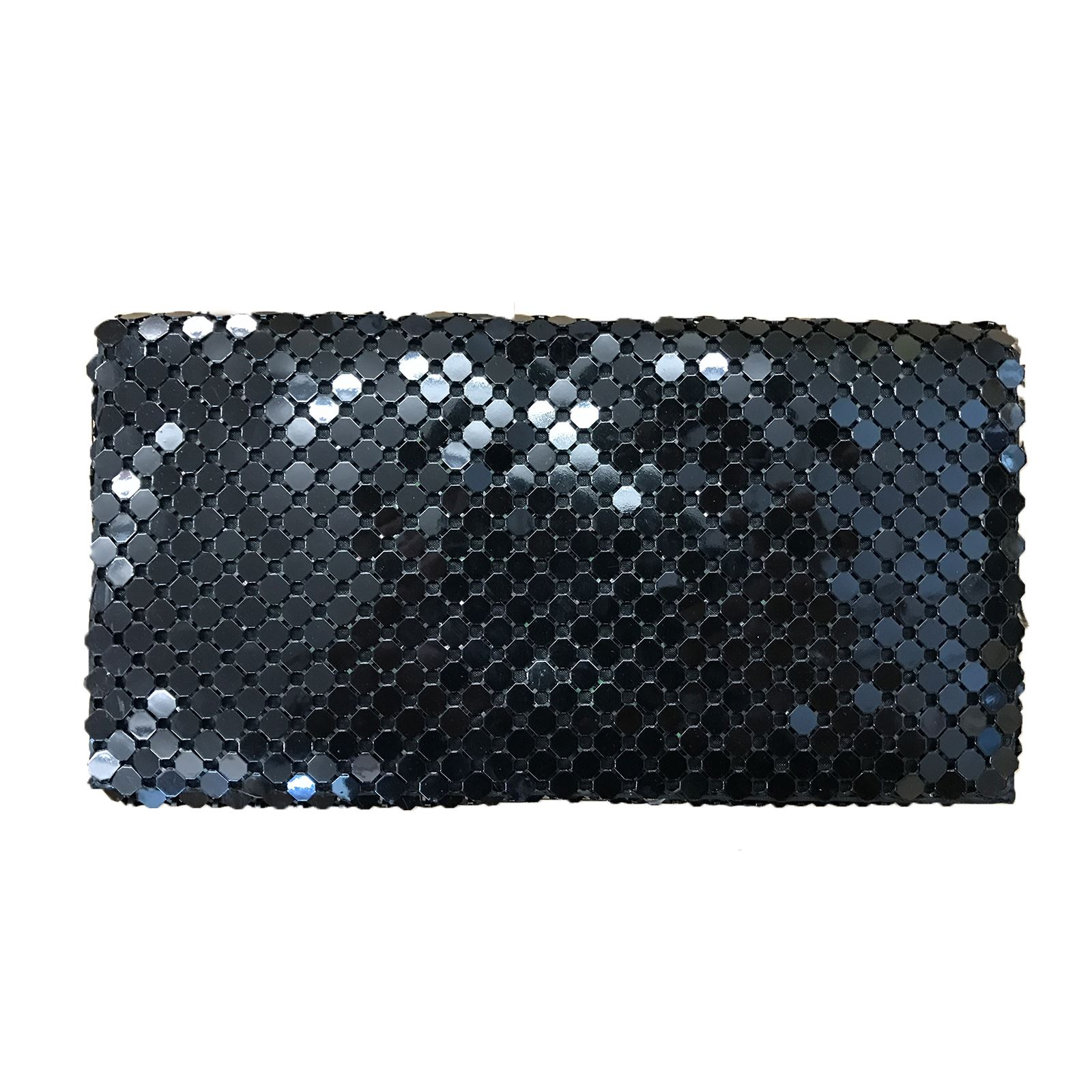 Womens Gold Silver Metal Beaded Clutch Bag Wedding