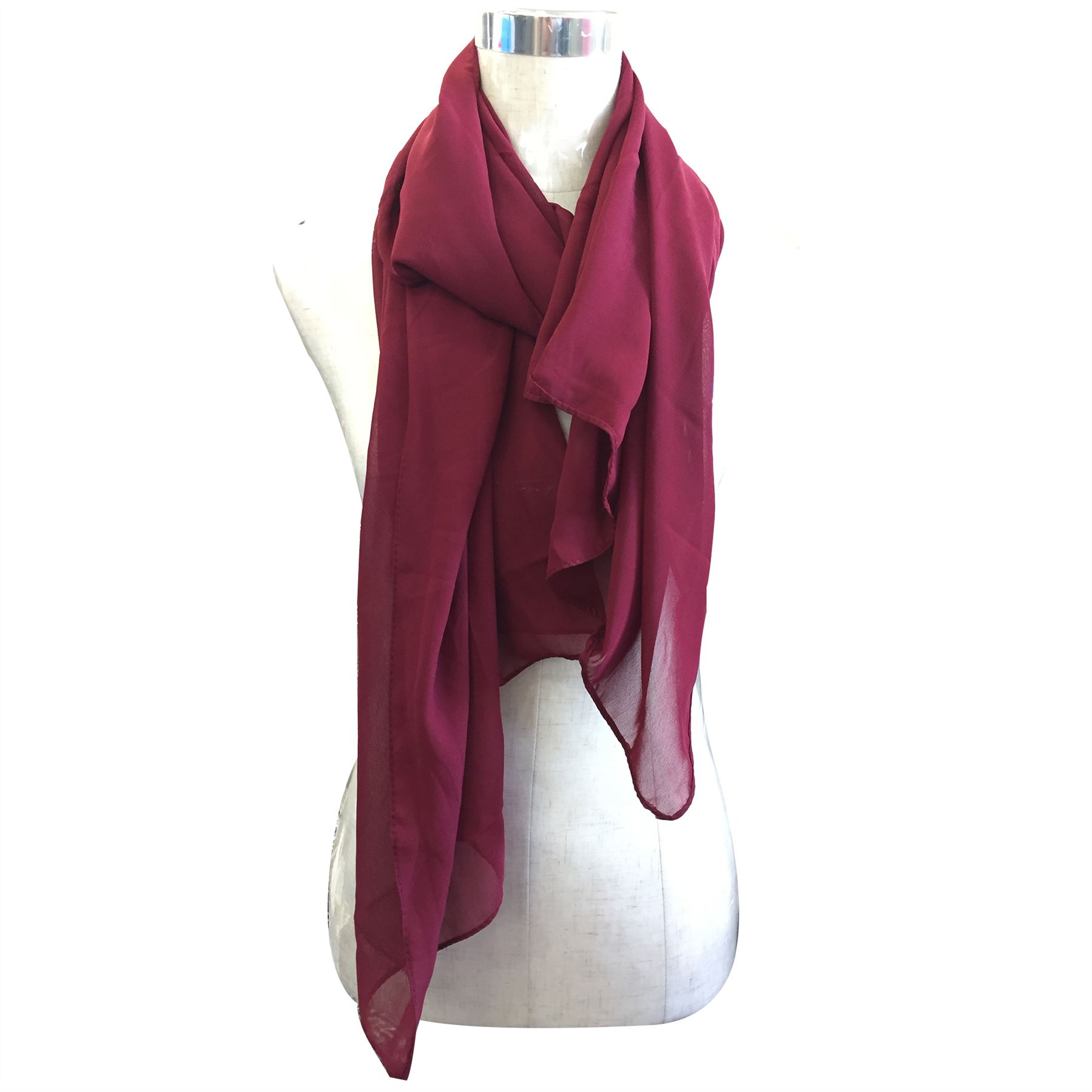 new womens plain chiffon large scarf wrap shawl