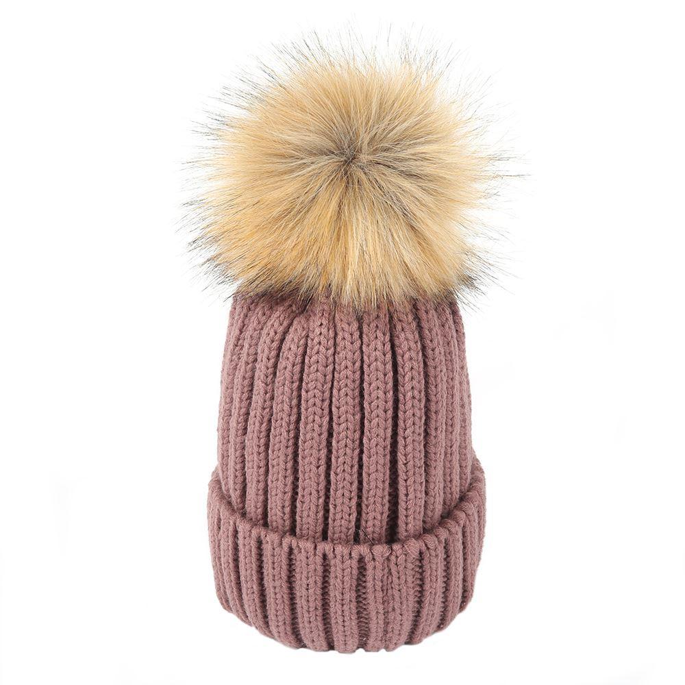 Womens Winter Faux Fur Mink Detachable Pom Pom Knitted ...