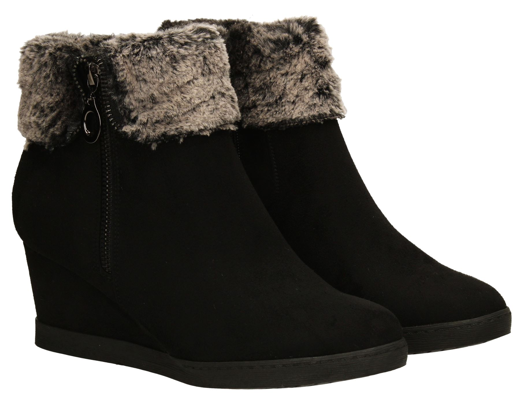 womens suede black wedge boots fur collar winter warm