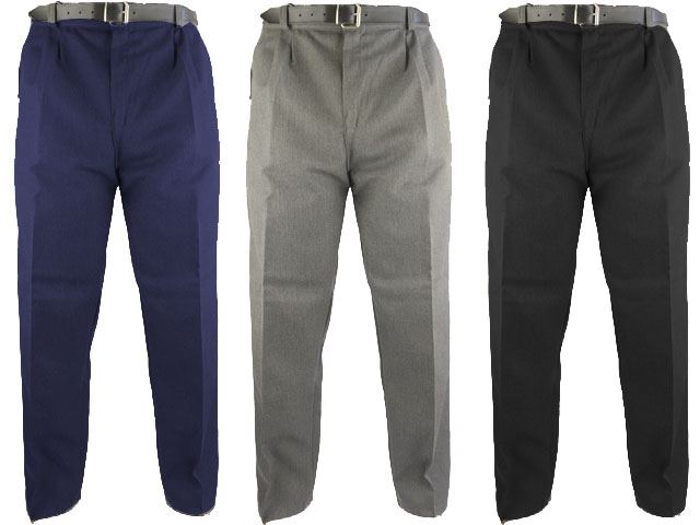 BOYS SCHOOL STURDY STOCKY WIDER FIT TROUSERS - ZIP FLY & HALF ELASTICATED WAIST
