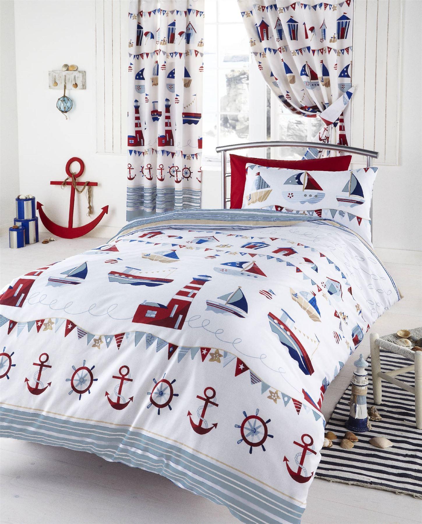 Nautical Themed Bedding For Babies: Nautical Ships White Kids Boys Reversible Single Duvet