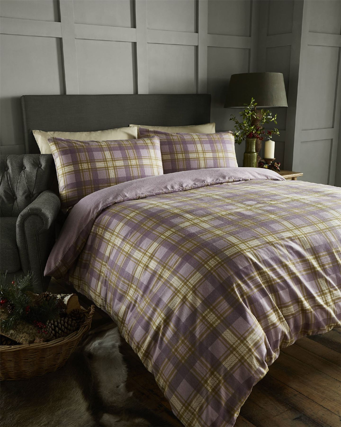 arran tartan 100 brushed cotton flannelette thermal duvet. Black Bedroom Furniture Sets. Home Design Ideas