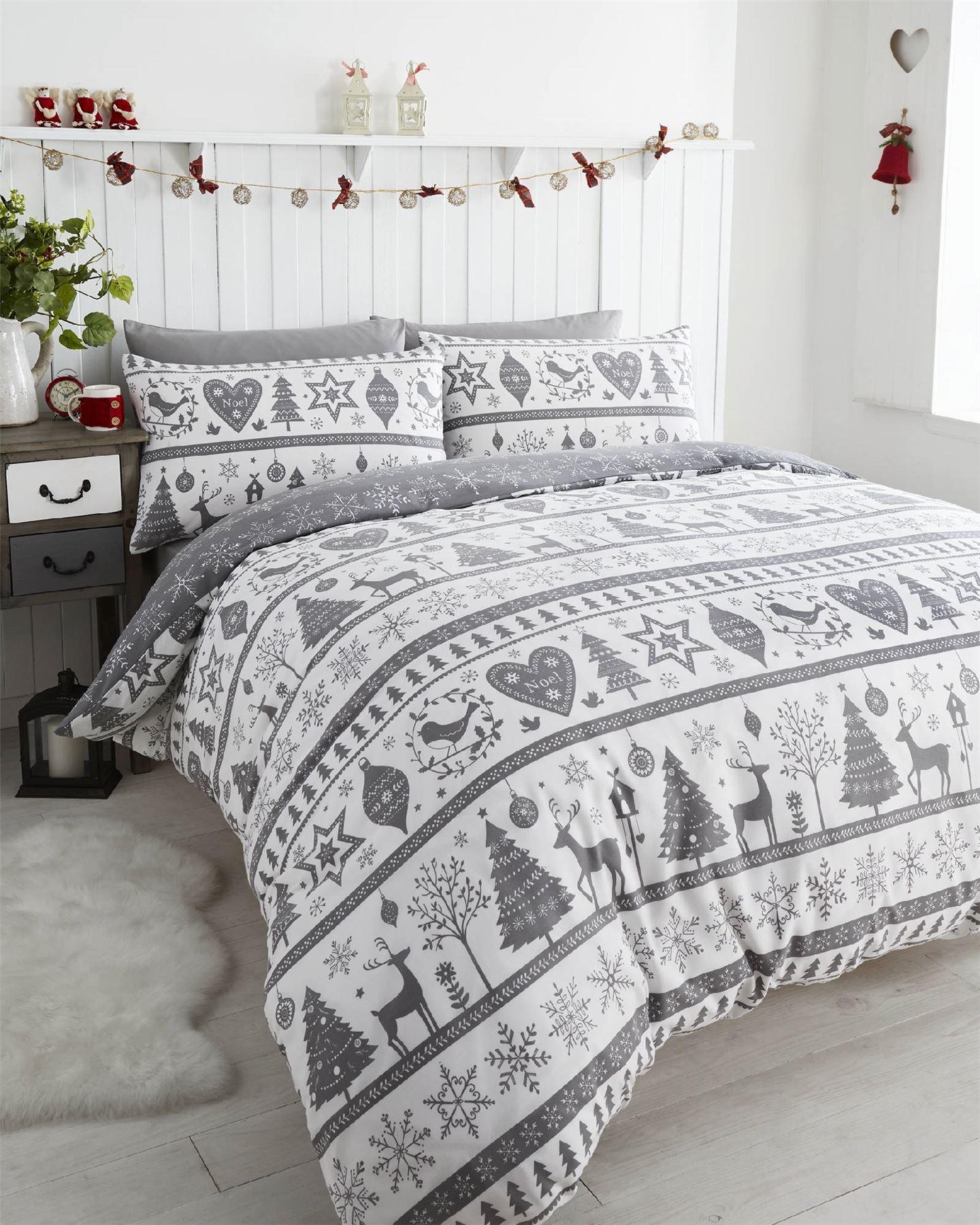 Noel Christmas Tree Snowflake Reversible Duvet Quilt Cover