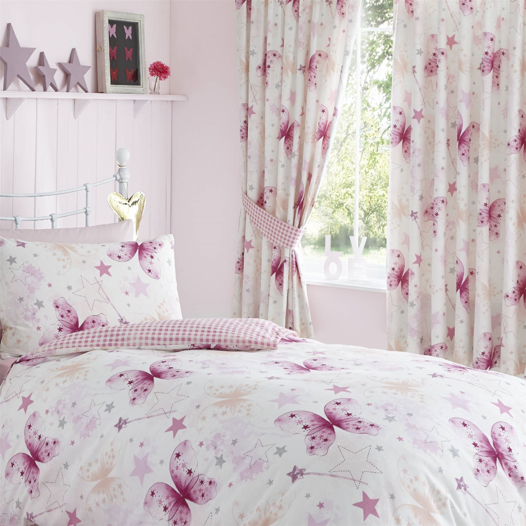 Butterflies pink girls childrens kids lined curtains 66 x for Childrens curtains uk