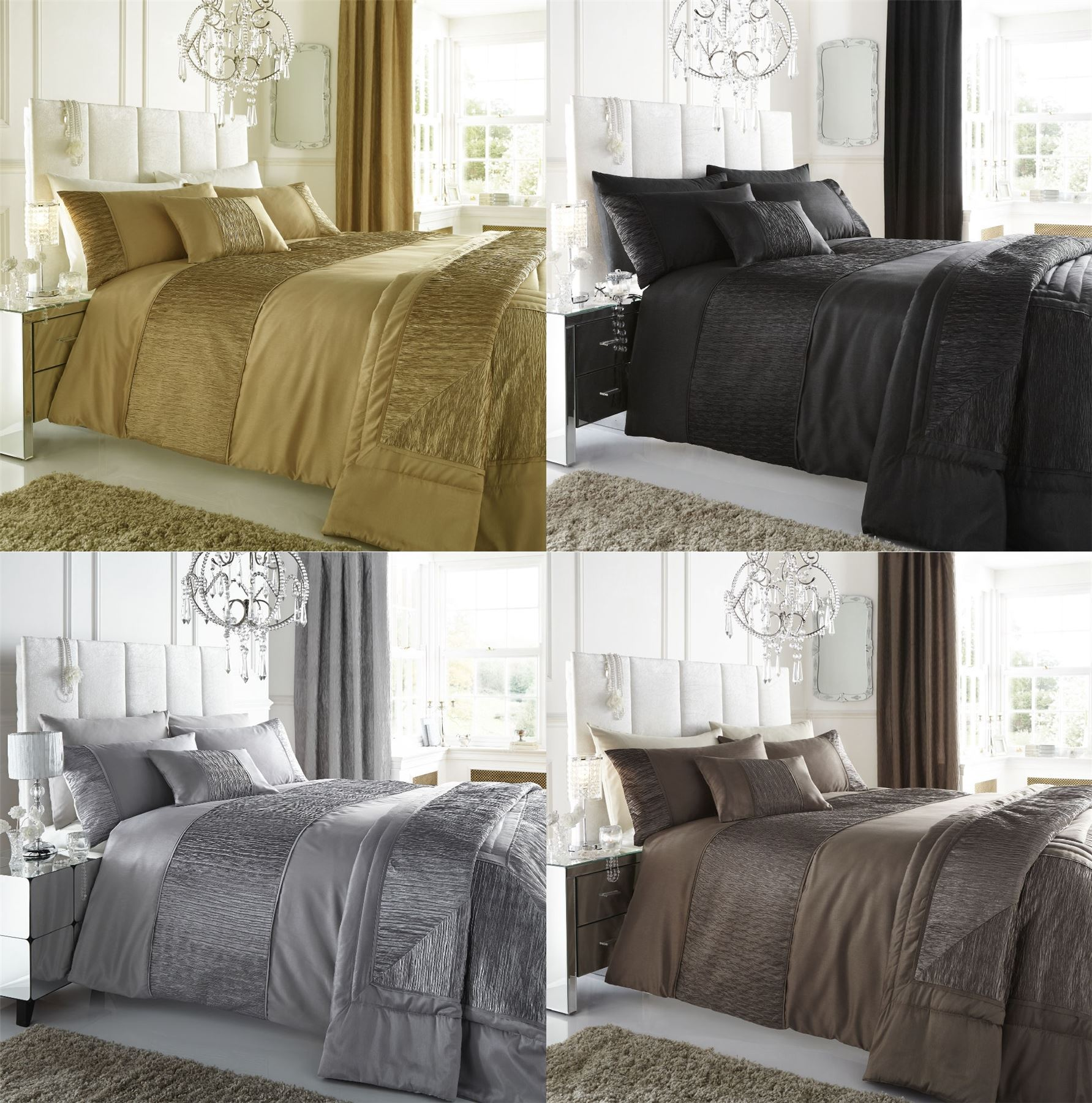 stunning satin feel faux silk ruffled panel duvet quilt. Black Bedroom Furniture Sets. Home Design Ideas