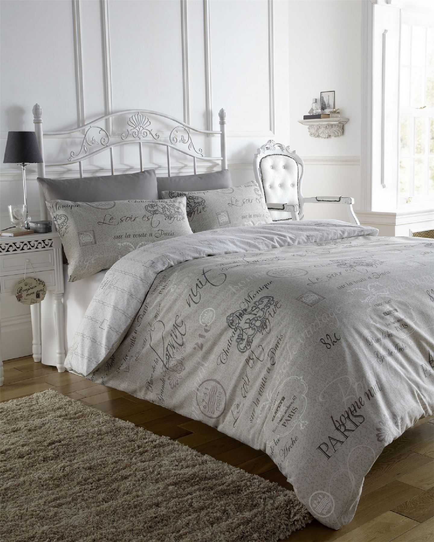 SCRIPT PARIS STYLISH FRENCH CALLIGRAPHY DUVET QUILT COVER BEDDING SET