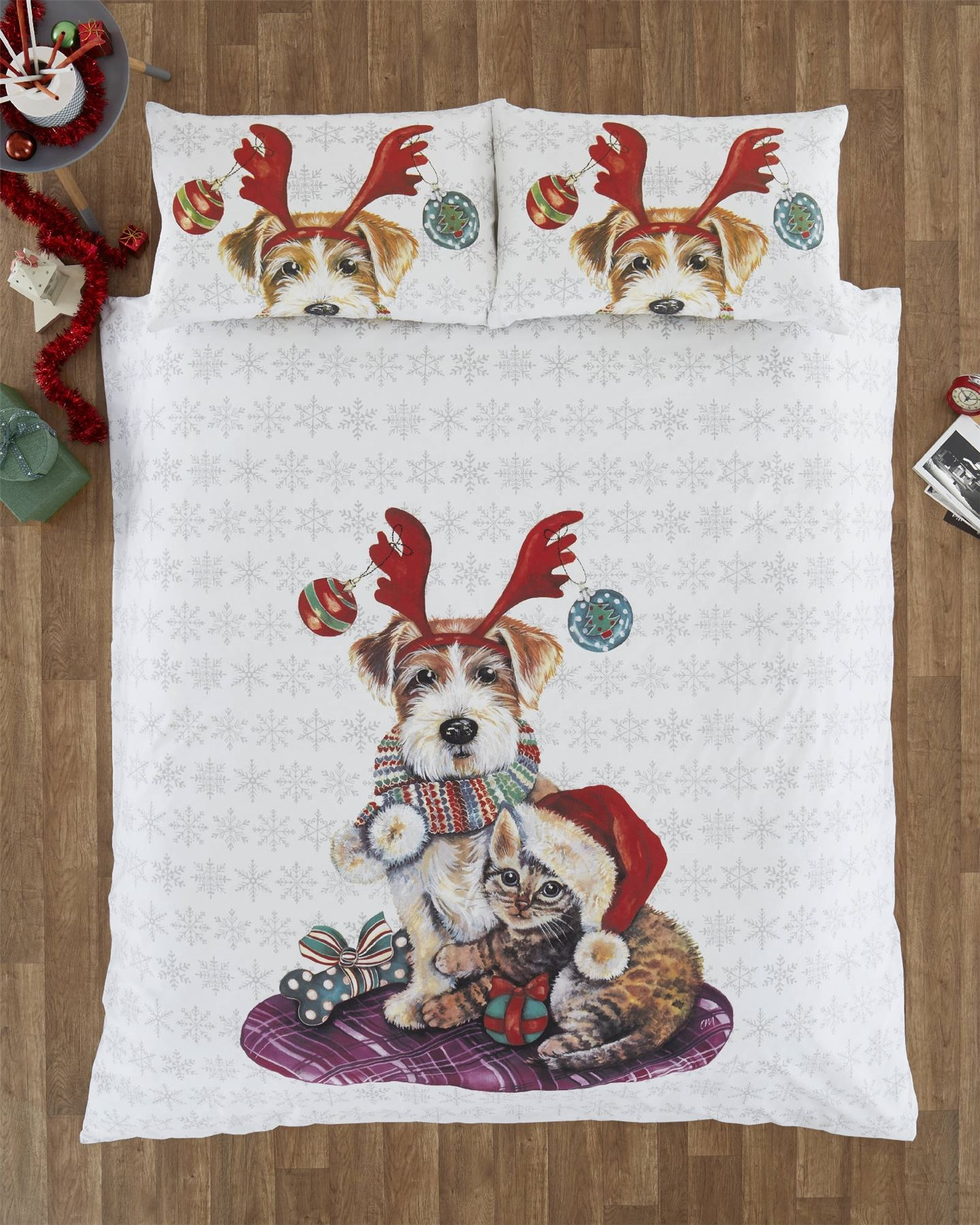Cute Christmas Cat And Dog Duvet Quilt Cover Bedding Set