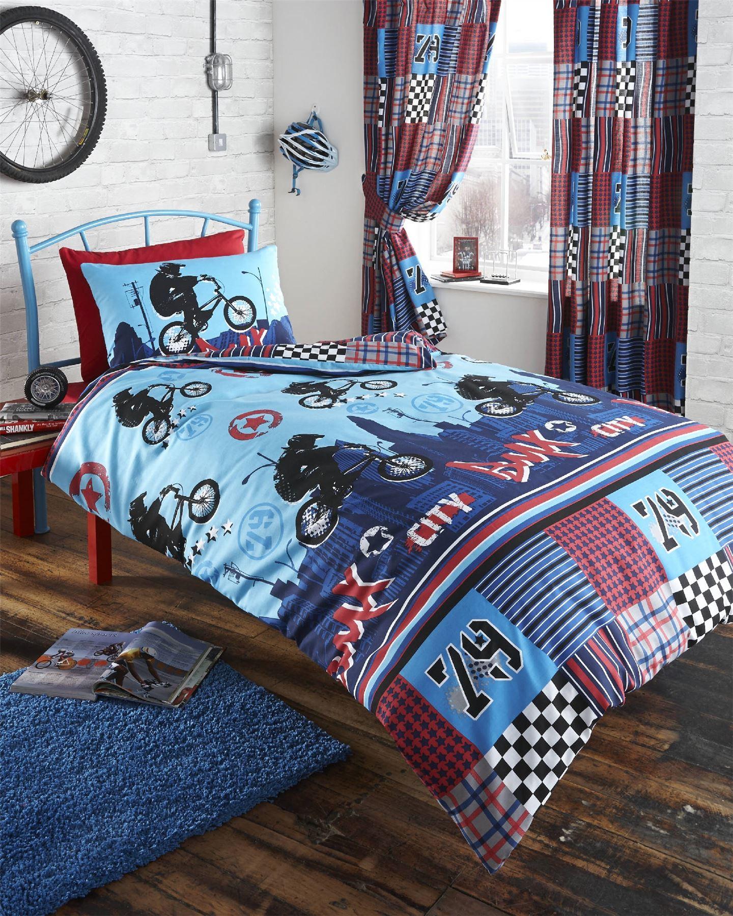 Bmx bike blue kids boys reversible single duvet quilt for Bmx bedroom ideas