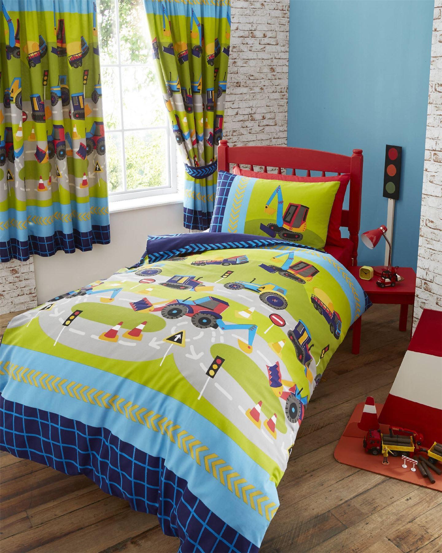 Boy S Quilt Duvet Cover Bedding Sets Single Or Double: Digger Trucks Green Kids Boys Reversible Single Duvet