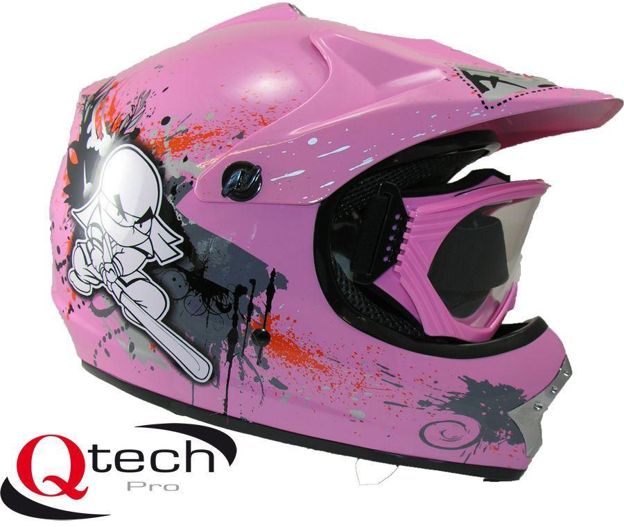 qtech kinder schutzhelm mit brille motocross ebay. Black Bedroom Furniture Sets. Home Design Ideas