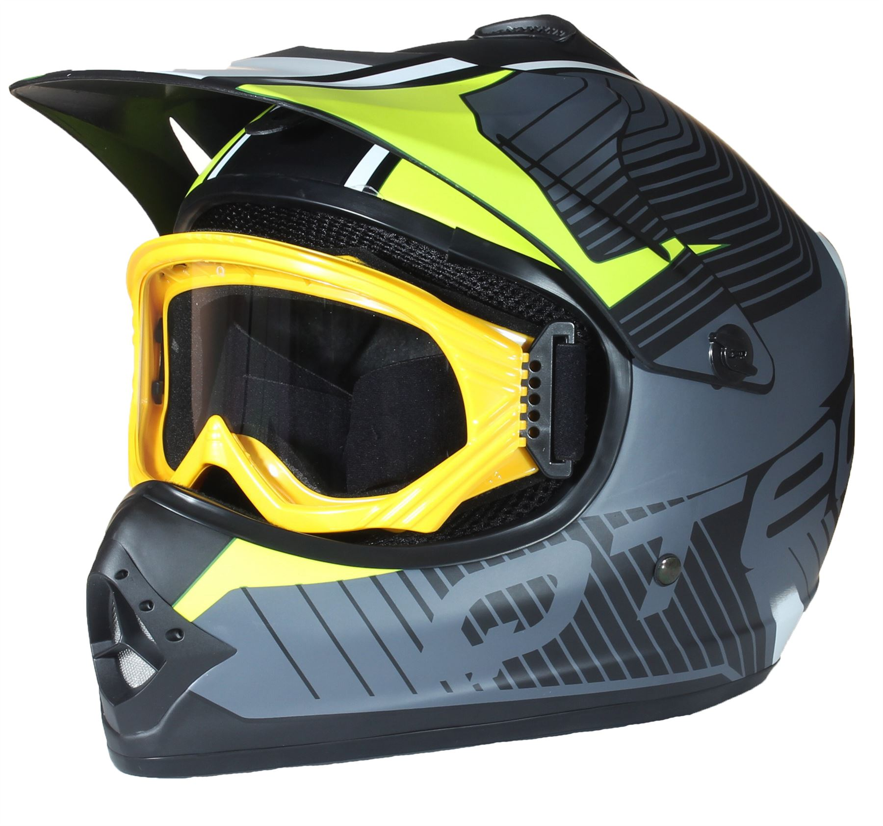 casque de moto pour enfant avec lunettes de protection motocross cross noir mate ebay. Black Bedroom Furniture Sets. Home Design Ideas