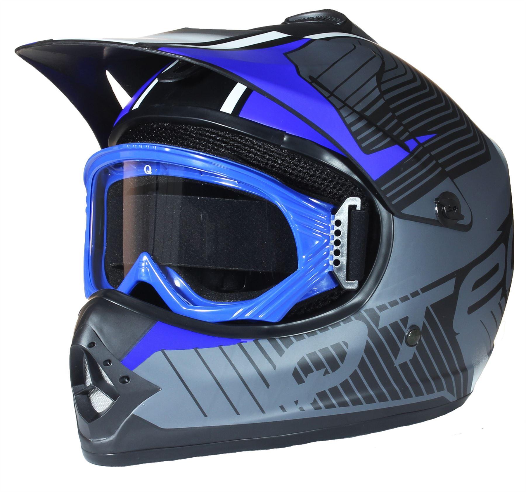 casque de moto pour enfant avec lunettes de protection motocross cross noir mate ebay. Black Bedroom Furniture Sets. Home Design Ideas