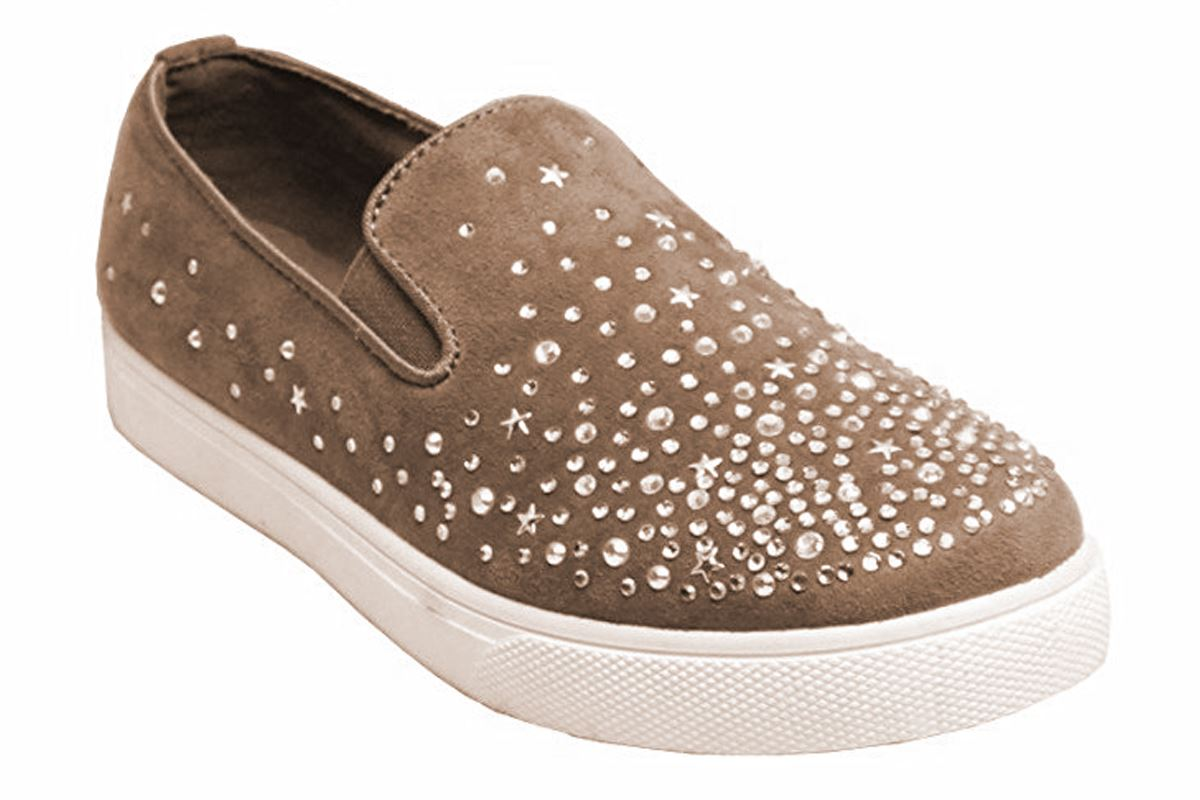 New Womens Casual Diamante Front Faux Suede Slip On Sneaker Pumps Shoes