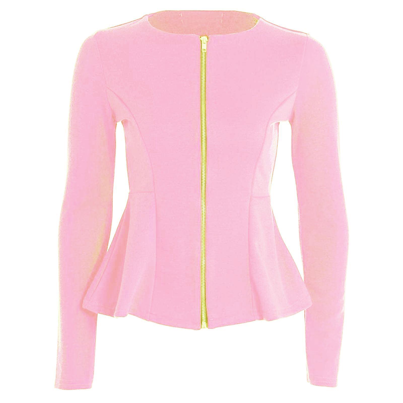 womens ladies zip peplum ruffle plus size tailored blazer