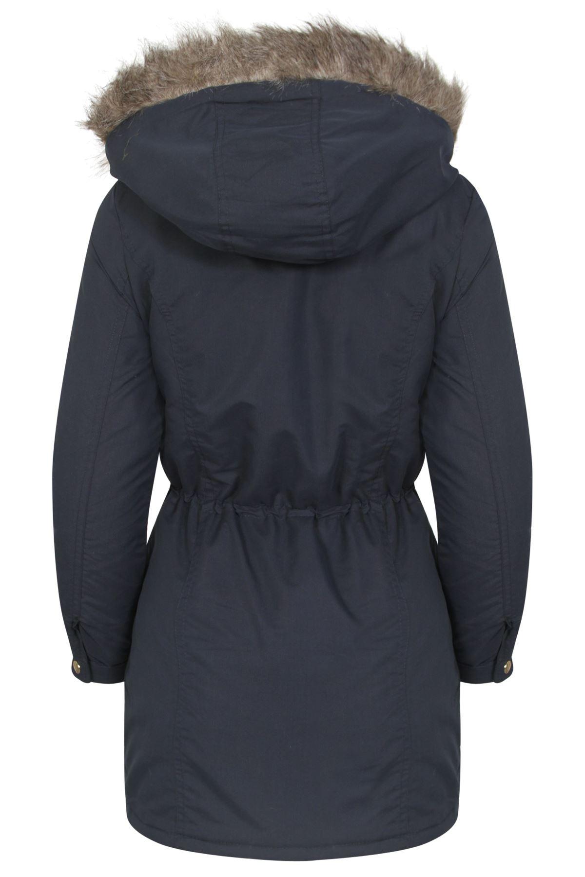 Womens-Brave-Soul-Plain-Trimmed-Parka-Faux-Fur-Hooded-Winter-Jacket-Long-Coat thumbnail 9