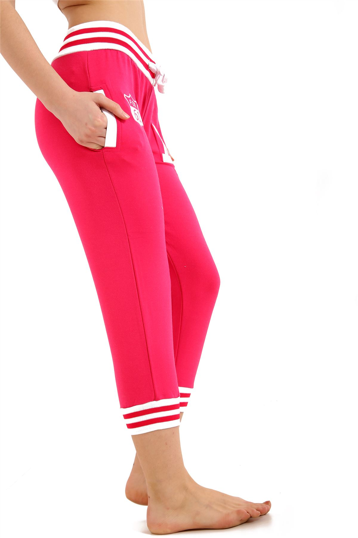 New Womens Three Quarter Contrast Sports Gym Jogging Pants Athletic Trousers