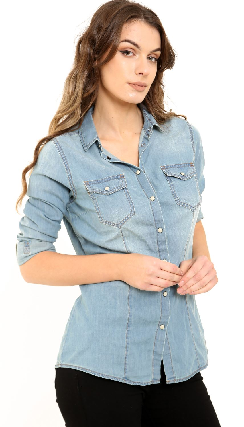 New womens denim medium wash classic casual fitted button for Women s broadcloth shirts