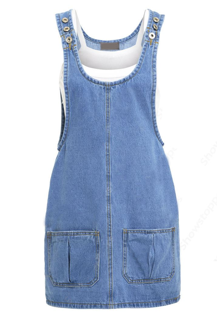 Elegant Boutique Womens Blue Denim Jeans Sleeveless Knee Length Dress Size 8