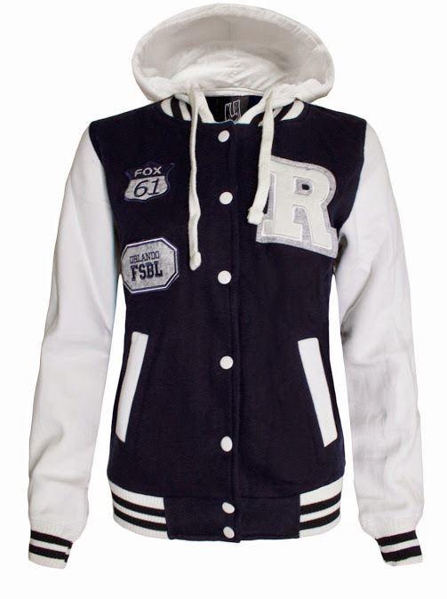 Womens Ladies R Varsity Baseball Hoody Hooded Hoodie long sleeve coat jacket top
