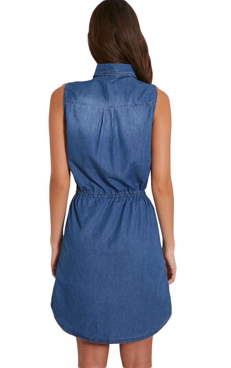 Elegant Womens Denim Dress 2015 Sexy High Waisted Denim Blue Jean Dresses For