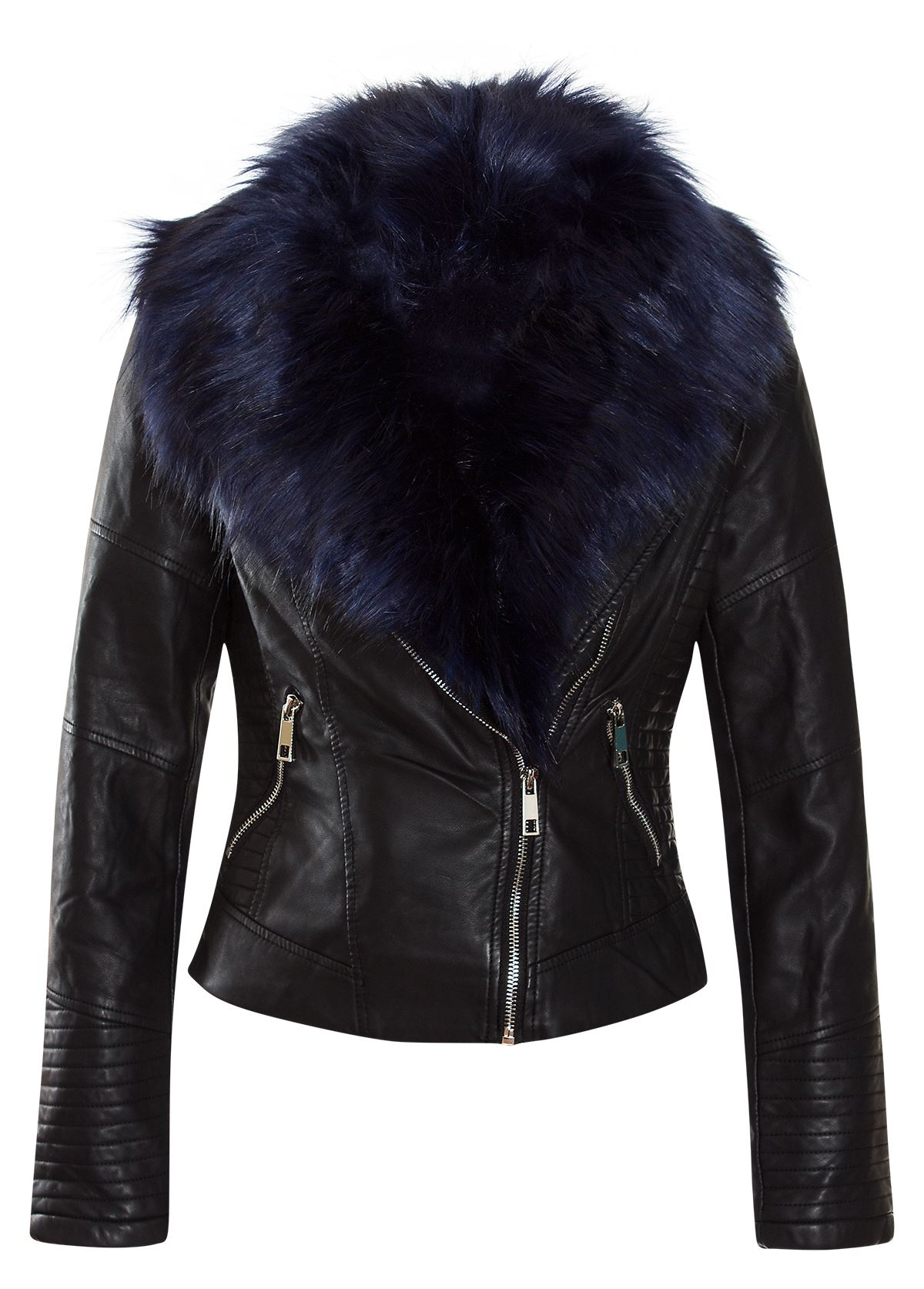Leather jacket with faux fur