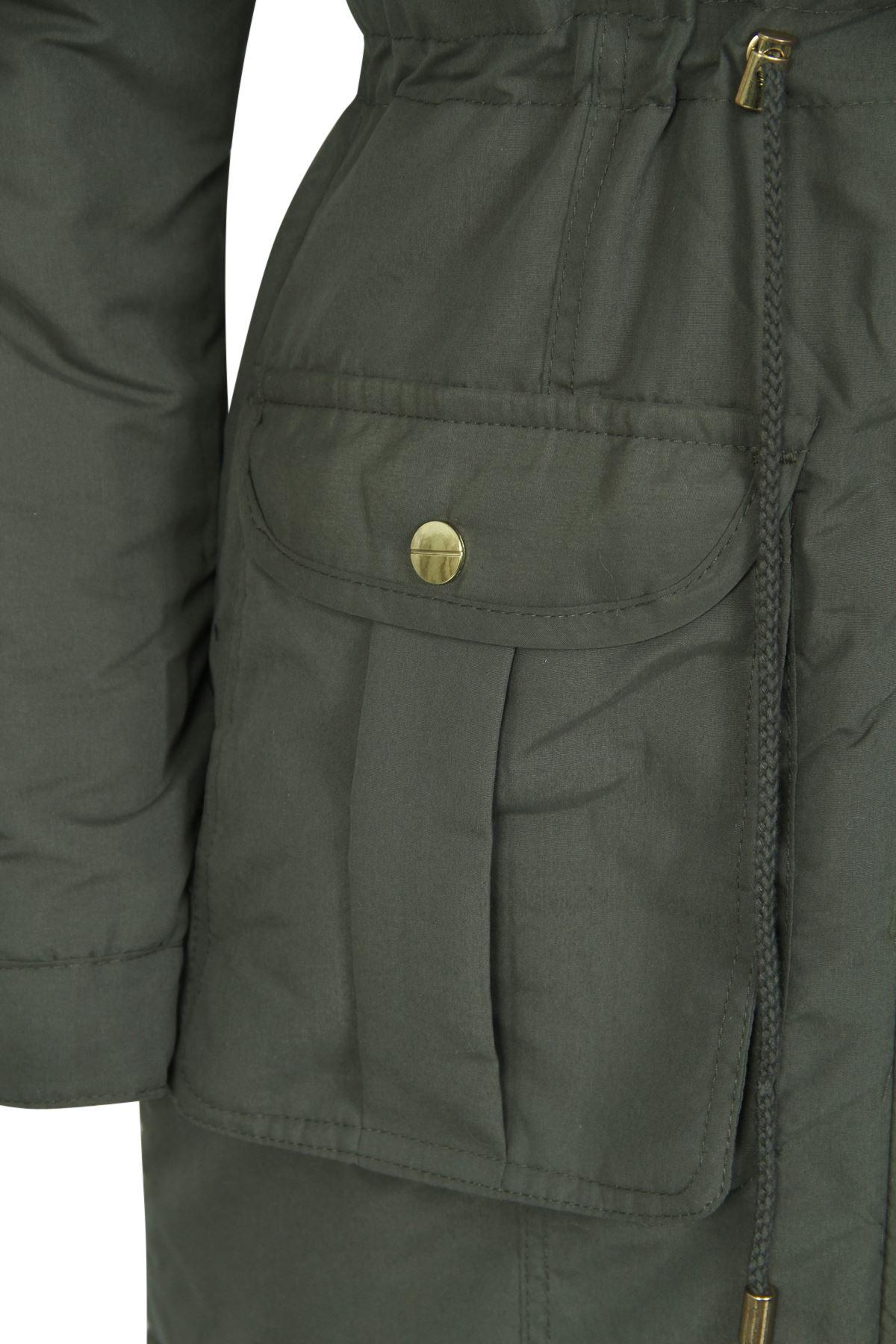 Da Donna Tinta Unita in pelliccia sintetica con cappuccio tagliata Parka invernale giacca lunga UK 8-24