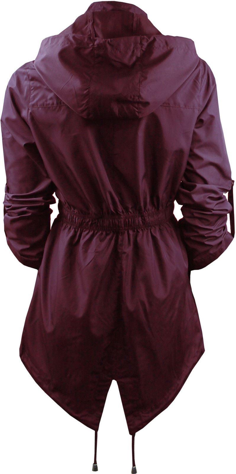 Womens-Ladies-Brave-Soul-Showerproof-Plain-Parka-Hoodie-Rain-Zip-Up-Jacket-Top thumbnail 6