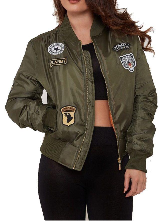 Womens Ladies MA1 Combat Badge Zip Vintage Padded Bomber Biker ...