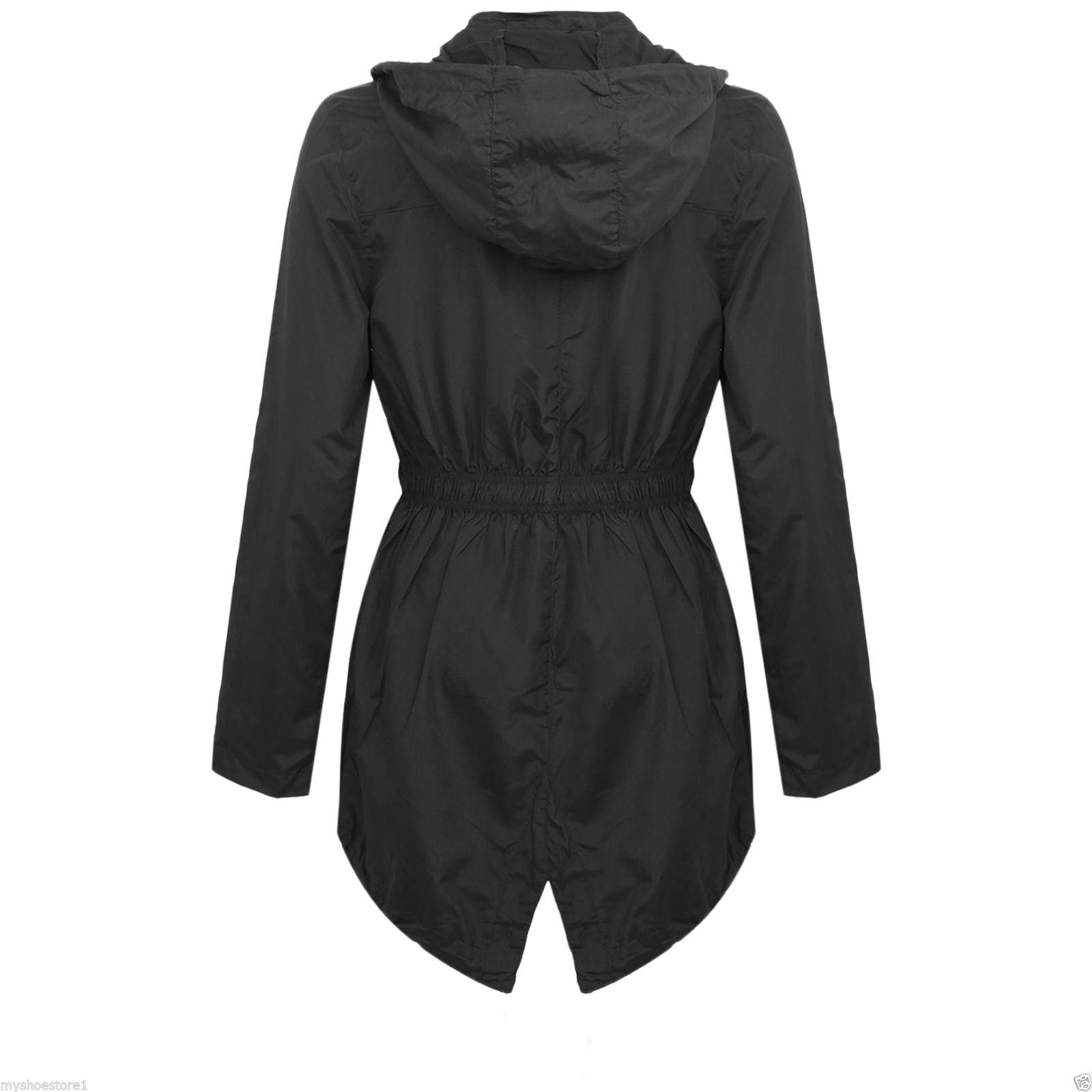 New Girls Hooded Fishtail Mac Lightweight Showerproof Parka Rain ...