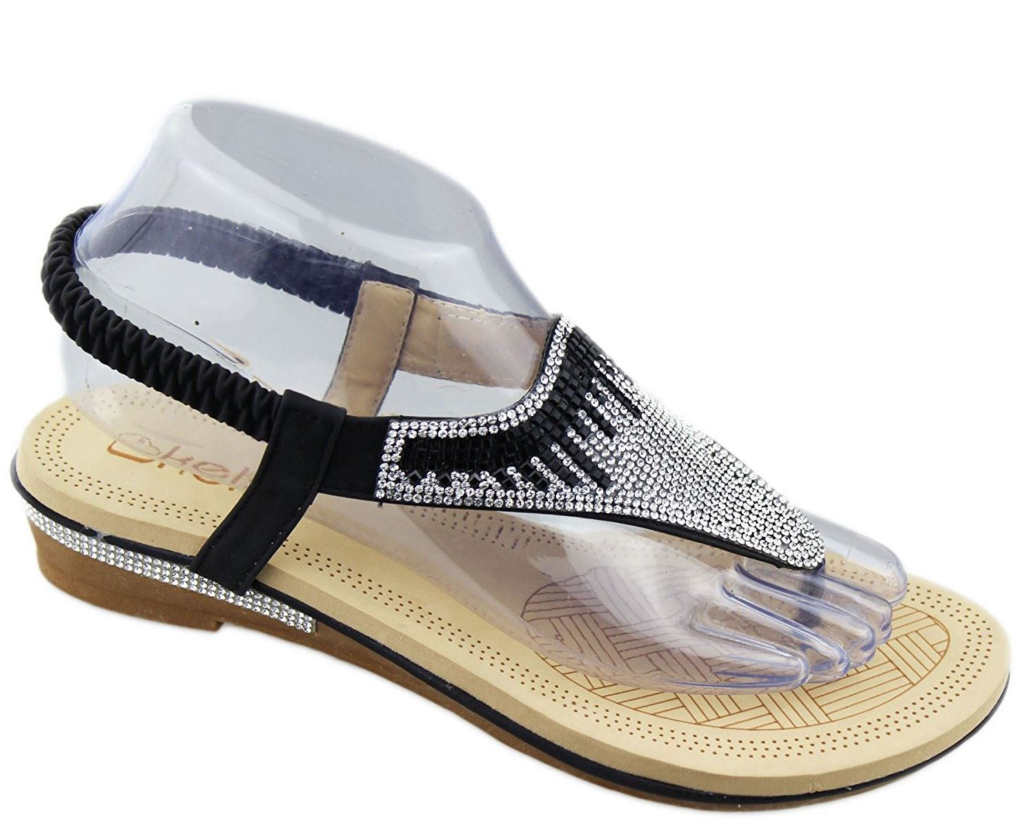 New Womens Diamante Sparkly Flat Open Toe Summer Slippers