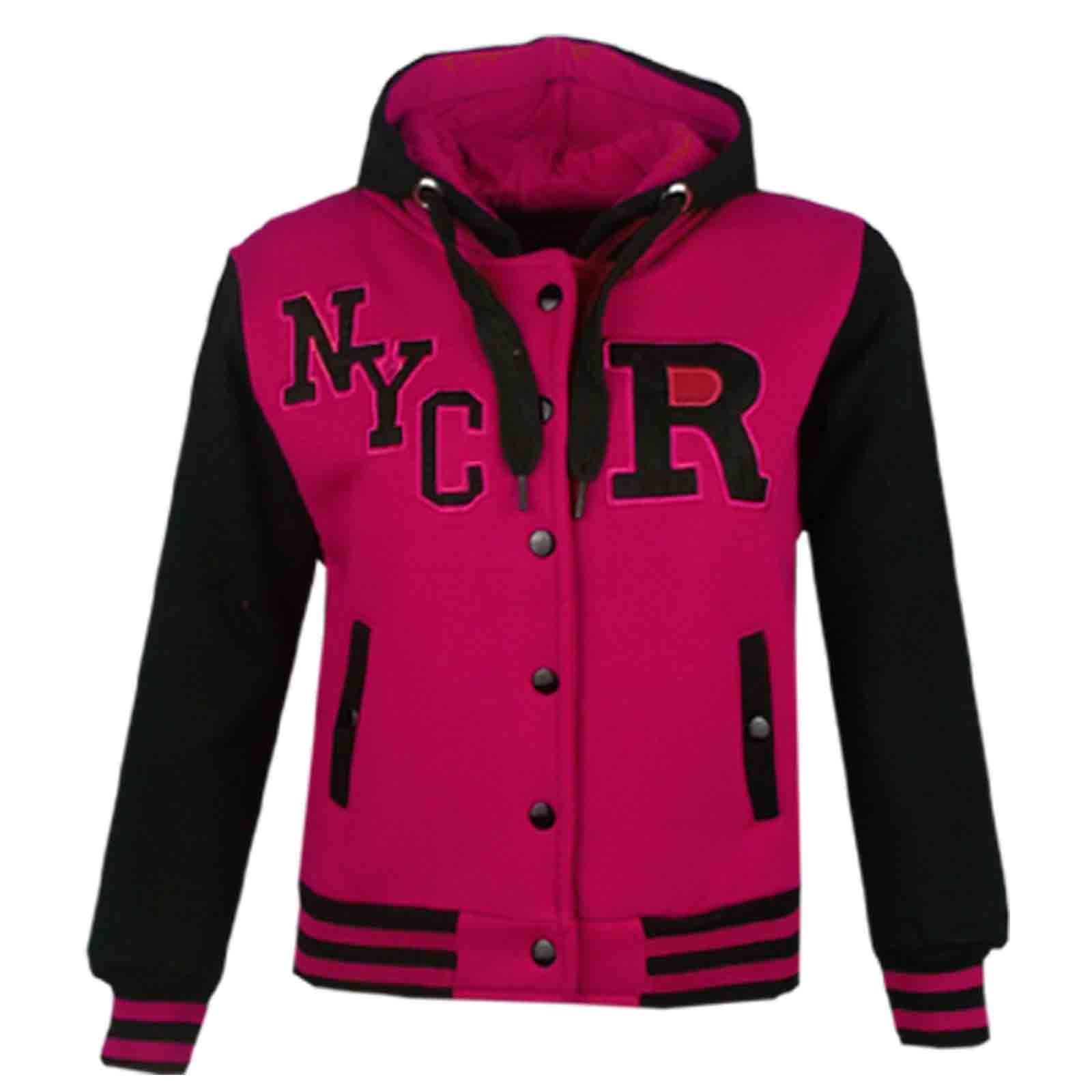 Kids Girls Boys Varsity College Baseball Hoodie Long ...