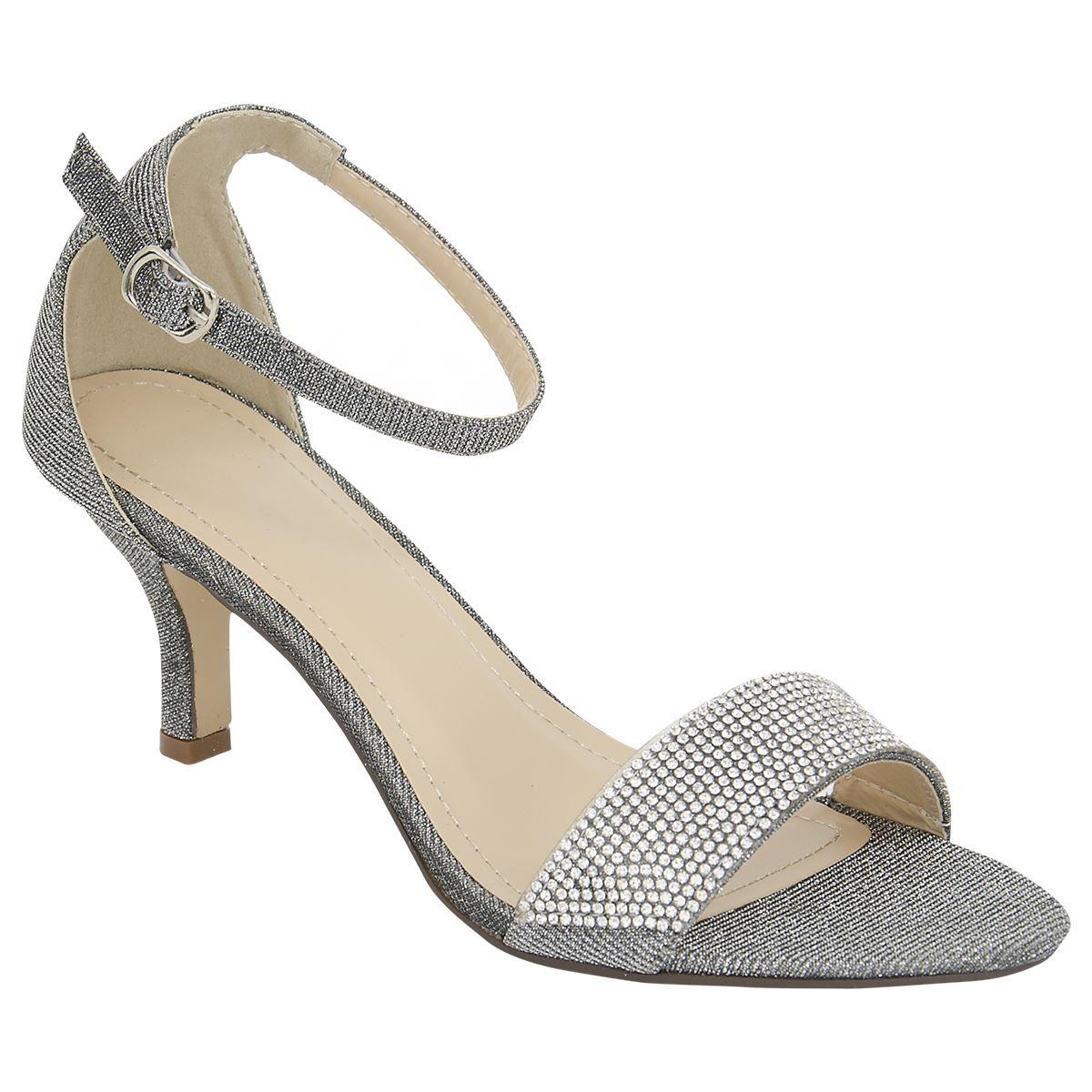 Ladies Grey Mid Heel Shoes