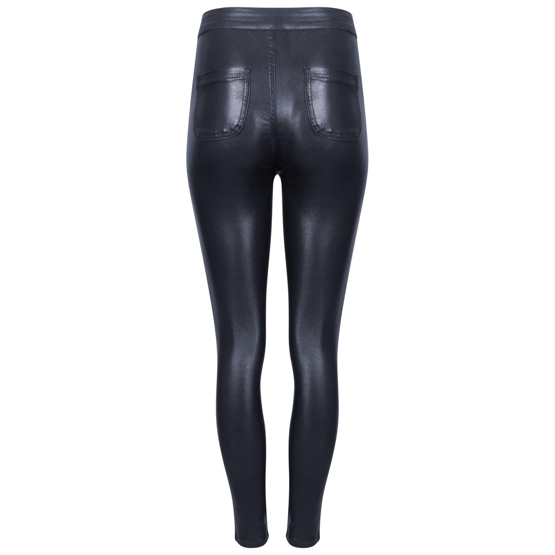Popular WomensWetLookPULeatherStretchSkinnySexyJeansTrousersPants