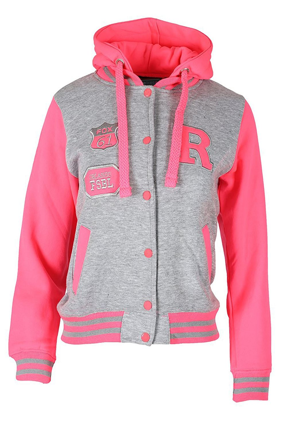 Varsity jackets for women are in style in a big way. We have varsity jackets that represent specific sports teams, and we have more generic varsity jackets. We feature varsity jackets made from sweatshirt fabric, and we have varsity jackets that are trimmed with leather.