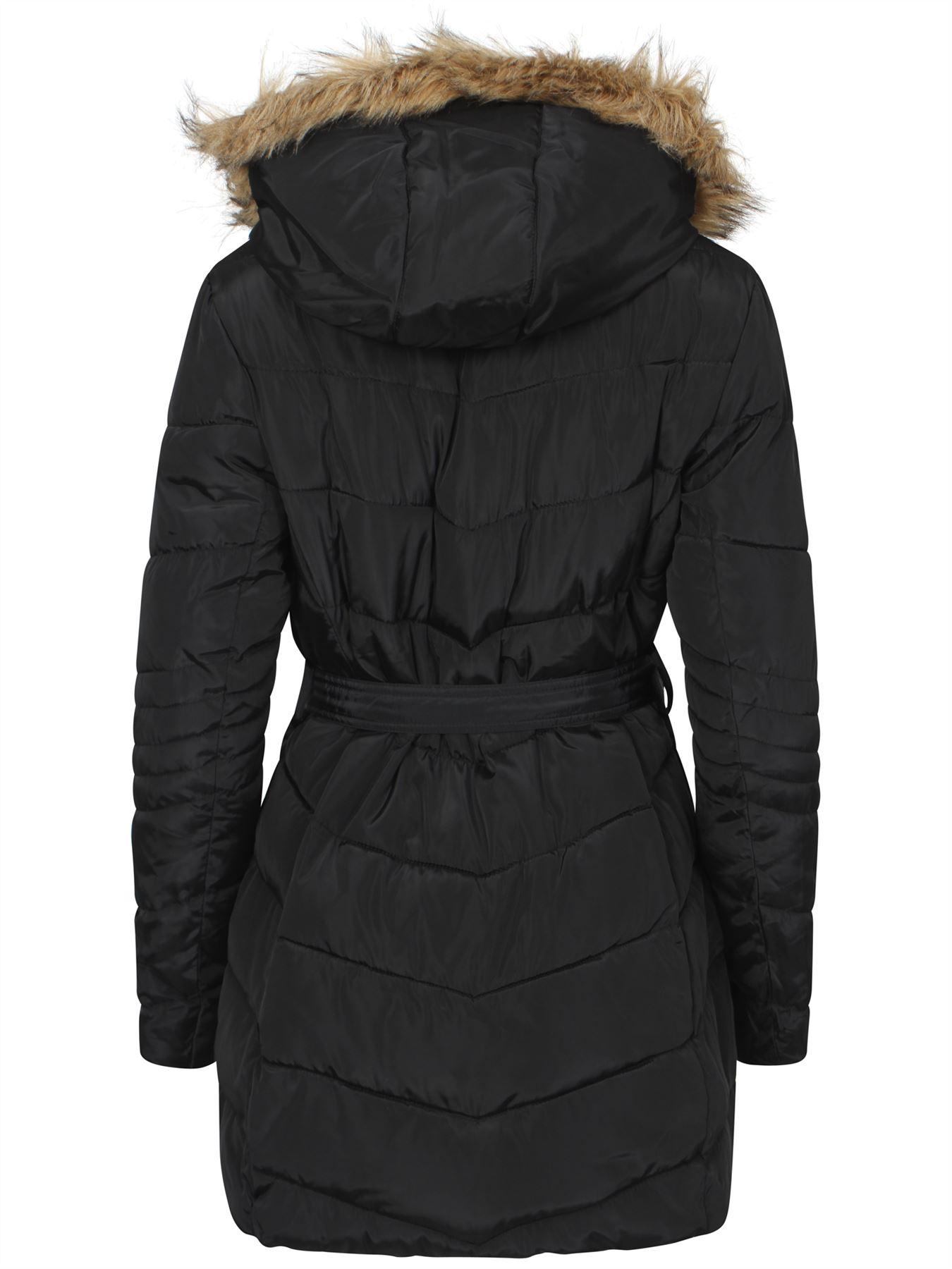 Womens-Coat-Parka-Waist-Belt-Fur-Zipped-Padded-Quilted-Jacket-Black-Hood-UK-8-16 thumbnail 4
